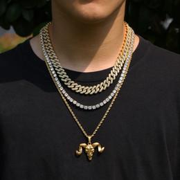 Joyas de cabra online-Color oro Cabra Oveja Cabeza colgante de acero inoxidable collar de Hip Hop Estilo animal Cabeza de collares unisex joyas de moda de Navidad M676F regalo