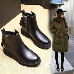 Argentina Womens Winter Fashion 2018 Botines Mujer Martin Botas de Mujer de Fondo Grueso Plano Corto Tubo Borla Botas de Mujer H-013 cheap womens flat tassel boots Suministro