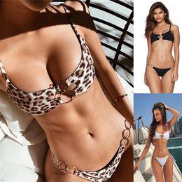 2019 leopard schwarze badeanzüge Brasilianische Leoparden Bikinis 2019 Mujer Bathers Bandeau Ring Schwarz Bademode Frauen Badeanzug Push Up Sexy Badeanzug Weiblich günstig leopard schwarze badeanzüge