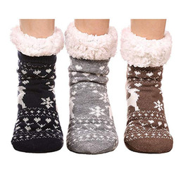 Оптовая 3 пара оленей Главная этаж носки Главная тапочки женские зимние теплые нечеткие противоскользящие выстроились крытый этаж тапочки носки от