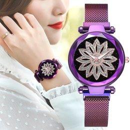 montres violettes pour filles Promotion Luxe Fleur Cadran Femmes Montre Magnétique Violet Dames Étoilé Ciel Horloge De Mode Femmes Bracelet À Quartz Montre-Bracelet Fille Cadeau 2019