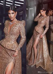 petite maxi kleider ärmel Rabatt Champagne tiefere V-Ausschnitt Prom Abendkleider Sexy Mermiad Pailletten lange formale Partei-Kleid-Slit-Festzug-Kleid plus Größe