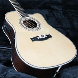 halb hohle körper bassgitarre Rabatt JEAN6086 Hohe Qualität Voll solide Elektrische Akustikgitarre Cutway D45O Ablone Inlay Ebenholz Griffbrett Knochen NutBridgeSaddle