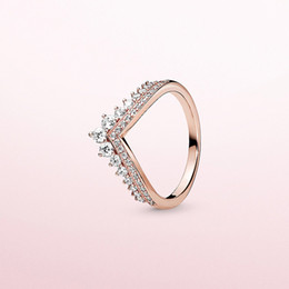 2019 jóias cheias de ouro chinês Hot Princesa Desejo Anel de Pandora de prata esterlina 925 com CZ diamante banhado subiu de alta qualidade anel de damas charme presente do feriado do ouro