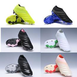Tacos de fútbol de cuero genuino online-Botas de fútbol sin cordones Copa 19+ Virtuso Niños Jóvenes Niños Botas de fútbol Zapatos de fútbol junior Cuero genuino