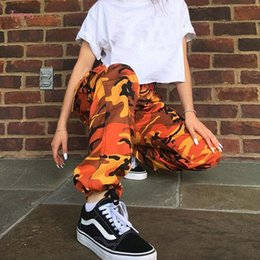 Pantalones cargo camo naranja online-Camuflaje Naranja mujeres de los pantalones Sweatpants púrpura Camo rosado Pantalones Pantalón Pantalones Harem pantalón cargo Femme Mujer