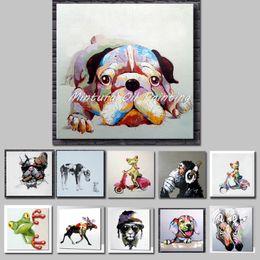 2020 pinturas de arte abstrata para crianças Mintura Arte pintado mão pinturas acrílicas da lona colorida do cão modernos Kid Wall Art animal Resumo da decoração de quartos não emoldurado desconto pinturas de arte abstrata para crianças