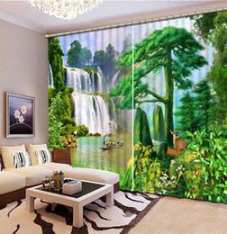 cachoeiras fotográficas Desconto Foto Personalizar Tamanho 3D cachoeira Cênica sala de estar quarto Cortinas Para O Quarto Modern 3D Blackout Janela