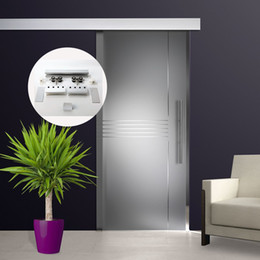 Puertas corredizas de ducha de vidrio online-6.6 FT Aleación de aluminio cepillado vidrio de ducha corredera herrajes para puertas de granero