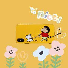 Casos móveis engraçados on-line-Adorável dos desenhos animados menino moda Shinchan com o cão engraçado do telefone móvel case para iphone 6 6 s 6 plus 7 8 plus x xr xs max
