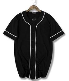 Buone t-shirt bianche online-New 2019 Hip hop bianco e nero linea asciugatura rapida T-shirt da baseball uniforme a maniche corte in jersey di buona qualità