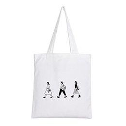 Модные продуктовые сумки онлайн-Fashion Lovely Printed Reusable Shopping Bag Girl Tote Bag Mori Style Cotton Handbag Shoulder Eco Grocery Large Capacity