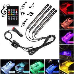 luz de tira llevada rosh Rebajas Tira de LED para coche, 48 LED Multicolor Car Interior Light Kit impermeable con función activa de sonido, Cargador de coche / USB
