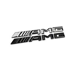 2019 graphiques de voiture 3d 10pcs 3D ABS Métal Chrome Logo 3M voiture AMG Badge Lettre autocollant pour Mercedes MB CL GL SL ML SLK B C E Classe S Noir Argent de haute qualité