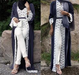 moda islamica in pizzo Sconti Maxi abito lungo in pizzo musulmano Jubah Medio Oriente Abbigliamento islamico Ramadan arabo Open Abaya Cardigan Abito lungo abito tunica Kimono
