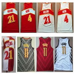 Camisas baratas del color online-2019 Hombres Baratos # 4 Spud Webb jersey # 21 Dominique Wilkins Rojo Blanco 11 # Trae Joven Color Baloncesto Jersey Bordado Logotipos Tamaño S-XXL