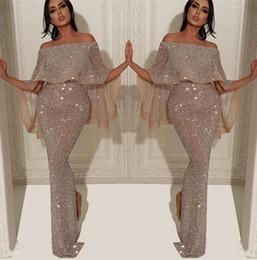 Robes de soiree en Ligne-Robe de soirée longue sirène paillettes scintillantes 2019 Arabe Bateau Cou De L'épaule Fendue Pageant Formelle Robe De Soirée De Bal BC1019