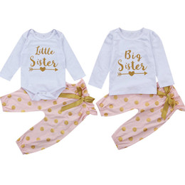 Ouro das meninas camisetas on-line-Irmã doce Matching roupa do bebê Meninas Tops T-shirt + Ouro Polka Dot Pant Calças 2PCS Outfit Chidlren Roupa Set Romper
