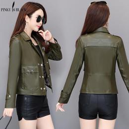 b99c21f6afba5 PinkyIsblack PU Leather Jacket Women Fashion Bright Colors Black Motorcycle  Coat Short Faux Leather Soft Biker Jacket Female