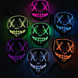 festival lichter kostüm Rabatt Maske LED Light Up Party Halloween Masken Die Purge Wahljahr Große Lustige Masken Festival Cosplay Zubehör Glow In Dark