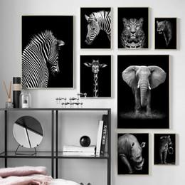 cópias da arte do girafa Desconto Preto Elephant White Giraffe Zebra Wall Art pintura da lona Posters nórdicos e Prints fotos para Living Room Home Decor