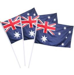 banderas de australia Rebajas 14 * 21 cm Bandera de Australia Bandera de poliéster Bandera de campaña Con la mano de Rod Banderas ondeando Fiesta Fiestas Bandera Banderas GGA2400