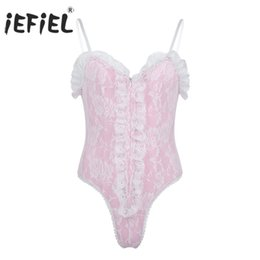 gay men lace Coupons - iEFiEL Mens Gay Lingerie Body Suit Straps High Cut Teddies Ruffle Lace Bodysuit Catsuit Sexy Special Nightwear Sissy Clubwear