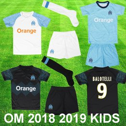 703fe7c1ed9ca New Olympique de Marseille 2018 2019 enfant BALOTELLI Soccer jersey OM  child Maillot de foot PAYET L.GUSTAVO THAUVIN boy uniform Kids kits kits  enfant pas ...