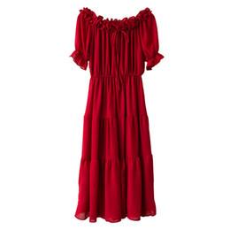 One-spalla Lace-up Dress Estate femminile New Super Fairy Tube Chest Chiffon Red Skirt Top Fashion Jooyoo cheap lace up chest dress da merletti il vestito dal petto fornitori