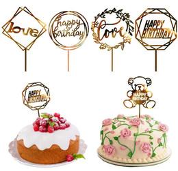 Toppers do queque do feliz aniversario on-line-50 Estilos de Cupcake Bolo Topper Bolo de Feliz Aniversário insere Bolo Top Bandeiras para o Amor Família Festa de Aniversário Assar Decoração Suprimentos