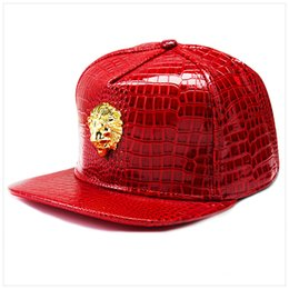 Lion casquette en Ligne-Hommes Hip Hop Casquettes De Base-ball Street Dance Chapeaux Hiphop Golden Lion Head Casquettes De Baseball Faux Cuir Casual Crocodile Grain Chapeaux De Soleil Snapbacks