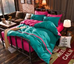 2019 bunte duvet-cover-sets Baumwolle Bettbezug-Sets 4 Stück Bunte weiche Bettwäsche Set mit Kissenbezug voller Queen Size günstig bunte duvet-cover-sets