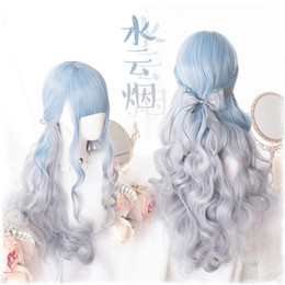 2021 peruca cinza encaracolado Lolita Blue Grey Gradient Synthetic Wig Cosplay Long Curly 75cm Hair Daily Harajuku Girl + Wig Cap