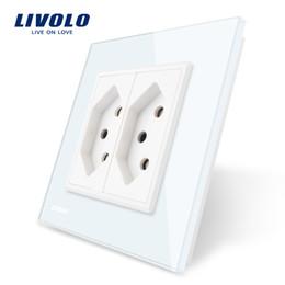 kristallwände Rabatt Livolo EU-Standard-Steckdose mit zwei Steckdosen in der Schweiz, weiße Kristallglasplatte, Steckdose mit 110 bis 250 V Wechselstrom