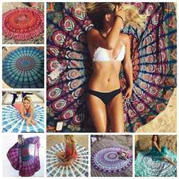 yoga mats designs Coupons - Beach Towel Indian Mandala Round Beach Towels Polyester Printed Tapestry Yoga Mat Summer Picnic Rug Serviette De Plage 39 Designs YW452