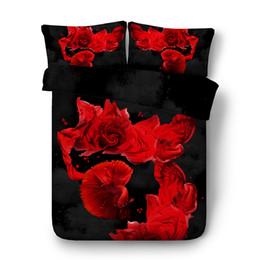 Edredón rojo negro online-Rosas azules Colchas Conjunto floral Tapa de Consolador Red Fish 3pc lecho 2 Almohada Shams Flores Negro gris del edredón del Duvet Covers Adolescentes niñas