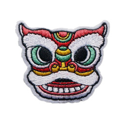 Patchs chinois en Ligne-Patch Brodé Chinois Tête De Lion Coudre Fer Sur Dragon Patchs De Broderie Badges Pour Sac Jeans Chapeau T Shirt DIY Appliques Artisanat Décoration