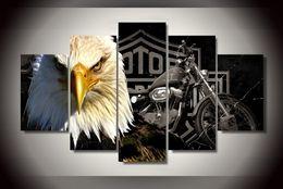 2019 opere d'arte del motociclo 5 pannelli moderna Canvas Prints Opera Aquila Moto Animal Pictures decorazione modulare di alta qualità Immagini HD Stampa Pittura SH190918 sconti opere d'arte del motociclo