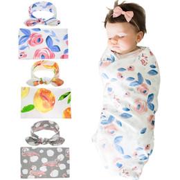 Patrón de mantas de bebé swaddle online-3 Estilos recién nacido Swaddling Mantas Orejas de conejo Las vendas Conjunto de empañar Foto Wrap Paño floral del flamenco patrón de la fotografía del bebé apoyos M518