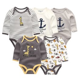 8170664a0 5 Pcs lot Newbron Winter Long Sleeve Rompers Set Jumpsuit Girls Girl Romper  Roupa De Bebe Baby Boy Clothes Q190520