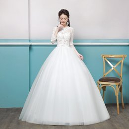 336aa2306fb 2019 Top Wedding Dress Bride 2018 New Marriage Korean-style long-sleeved  lace in the shoulder is thin and large size wedding dress summer