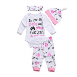 videos de ropa Rebajas 2018 Newborn Toddler Baby Girls Ropa de manga larga Juegos de video Romper Jumpsuit + Pants Arrow Heart Outfits Conjunto lindo SS Y190515