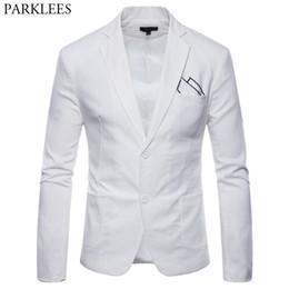 Beyaz Pamuk Keten Hafif Takım Elbise Ceket Erkekler 2019 Yeni Slim Fit Casual Blazer Ceketler Erkek Parti Düğün Damat Blazer Hombre nereden