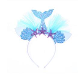 hilo de arcoiris Rebajas Rainbow Mermaid Headband Princess Mesh Yarn Shell Flower Animal Hairbands Hoop Party Accesorios para el cabello GB1060