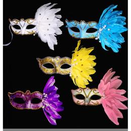 2019 sexfedern Maske Sexy Diamant Venetian Venedig Feder-Blumen-Hochzeit Karneval-Partei-Leistung lila Kostüm Sex Lady Mask Masquerade günstig sexfedern