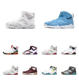 Zapatos de baloncesto n7 online-Barato 7 zapatos de baloncesto hombres mujeres 7s VII púrpura UNC Burdeos Olímpico Panton Dinero puro Nada Raptor N7 Zapatos Trainer zapatilla de deporte retro