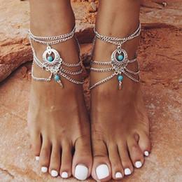 2019 sandale en pierre Vintage Pierre cristal d'eau en forme de goutte cheville Pied Bijoux Sandales Barefoot cheville pour les femmes Tornozeleira Bijoux Chevillé Chaine promotion sandale en pierre