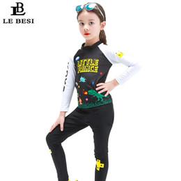 Costume da bagno nuovo LEBESI 2018 3-12 anni Bambina Costume da bagno 2 pezzi Pantaloni lunghi di colore nero Costumi da bagno con maniche Costumi da bagno da vestiti di ananas per bambini fornitori