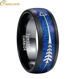 wedding arrow Coupons - Hot Sale 2019 Men's Wedding Ring Plating Black Inlay Blue Imitation Aerolite Tungsten Steel Ring Silver Arrow Men Jewelry