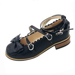 2020 zapatos de mucama Corbata de moño bajo de las mujeres bombas de tacón tacones cuadrados hebilla de la manera Correas Maid Zapatos de Kawaii princesa Shoes tamaño grande zapatos de mucama baratos